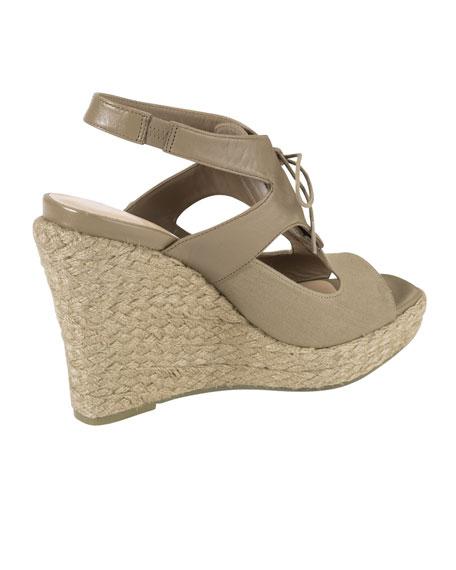 Heath Lace-Up Wedge Sandal, Summer Khakis