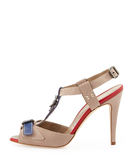 Persefa Buckled T-Strap Sandal, Taupe/Blue/Red