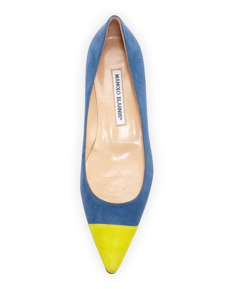 Flatby Suede Cap-Toe Ballerina, Blue/Yellow