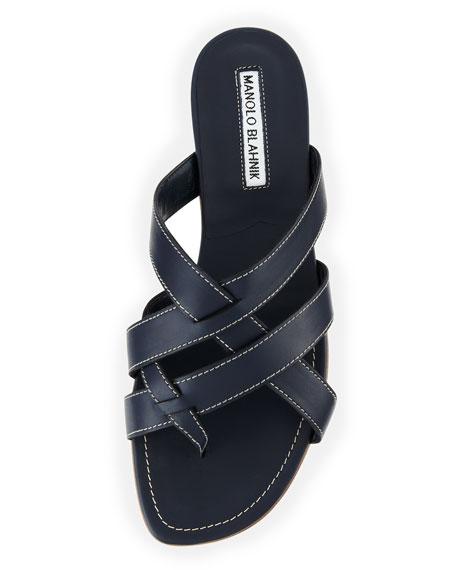 Lascia Woven Leather Thong Sandal, Blue