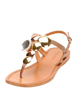 Bottega Veneta Mirrored Circles Thong Sandal, Mud