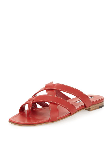 Lascia Woven Leather Thong Sandal, Red