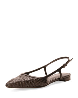 Bottega Veneta Woven Leather Slingback, Nero