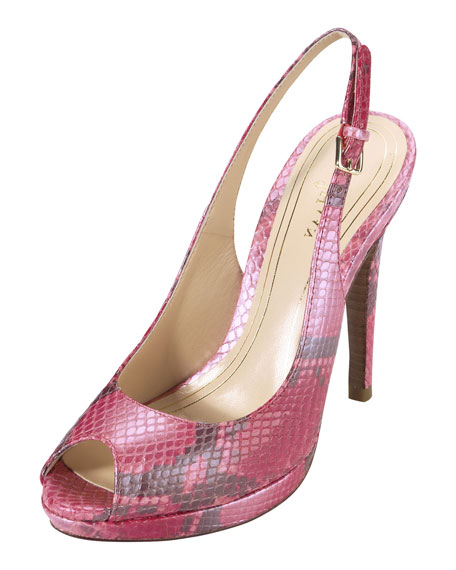 Air Chelsea Snake-Print High-Heel Slingback Pump, Punch
