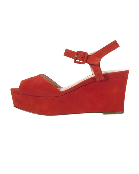 Jen & Oil Mary Jane Suede Platform Sandal, Red