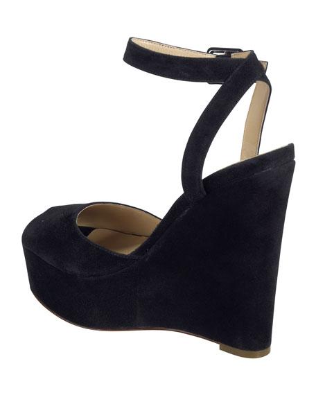 Jen & Oil Mary Jane Suede Platform Sandal, Black