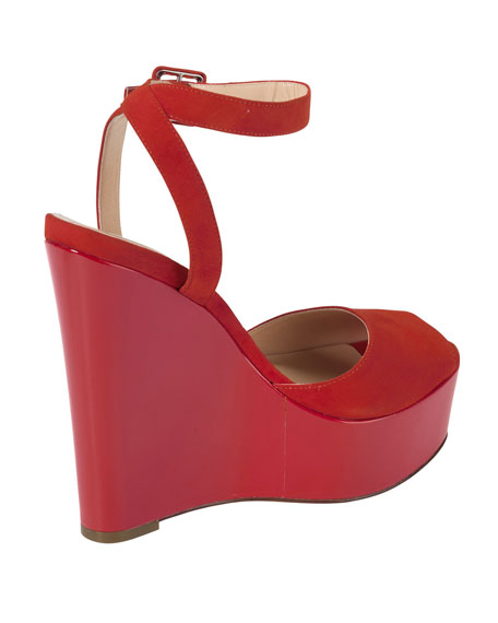 Jen & Oil Mary Jane Suede Platform Sandal, Red