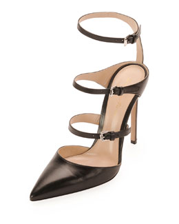 Gianvito Rossi Ladder-Strap Mary Jane Pump, Black