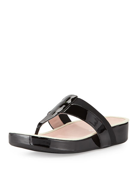 Taryn Rose August Patent Footbed Sandal, Black
