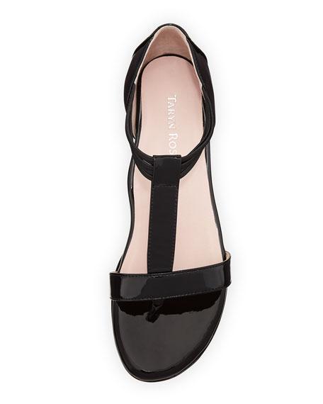Izabel Patent T-Strap Sandal, Black
