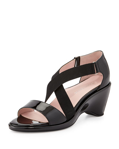 Maura Crisscross Stretch Patent Wedge Sandal, Black