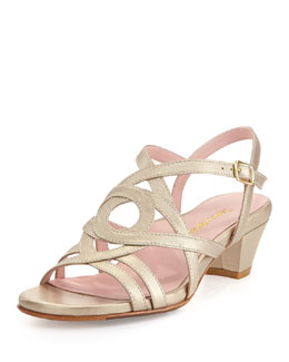 Taryn Rose Oma Metallic Strappy Sandal, Soft Gold