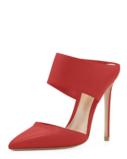 Gianvito Rossi Napa Banded Point-Toe Slide, Red