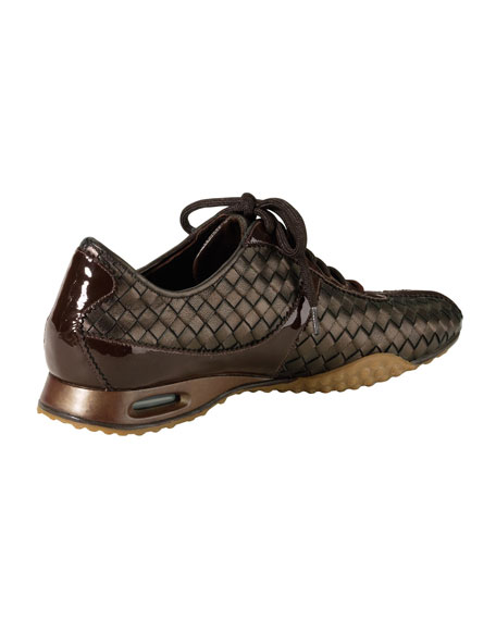 Air Bria Woven Leather Oxford, Dark Brown