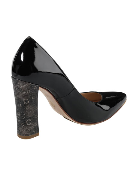 Air Chelsea Lizard-Print-Heeled Pump, Black