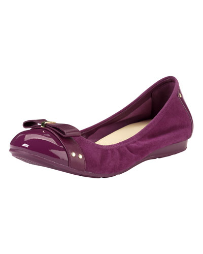 Cole Haan Air Monica Suede/Patent Ballerina Flat, Winery