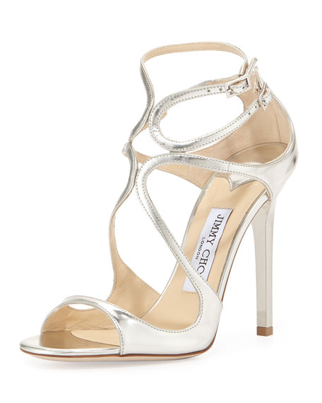 Jimmy ChooLance Metallic Strappy Sandal, Silver