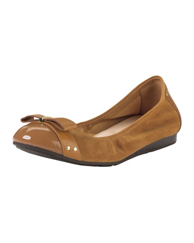 Cole Haan Air Monica Suede/Patent Ballerina Flat, Camello