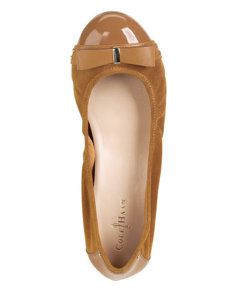 Air Monica Suede/Patent Ballerina Flat, Camello