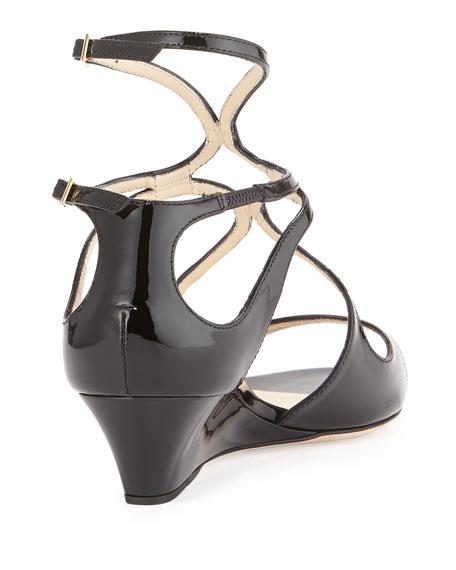 Inka Patent Wedge Sandal, Black