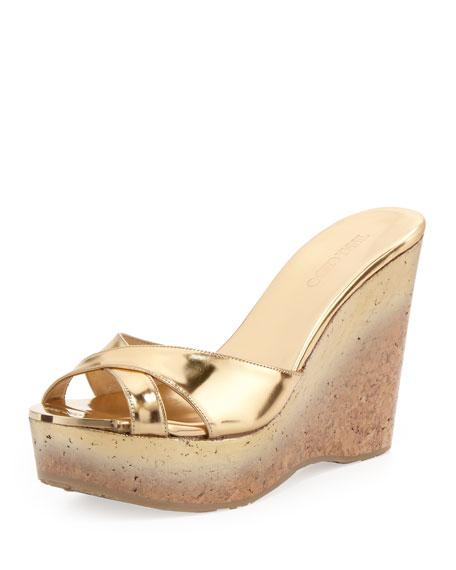 jimmy choo perfume cork wedge slide gold rh neimanmarcus com