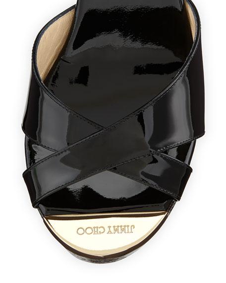 Perfume Crisscross Degrade Wedge Sandal, Black