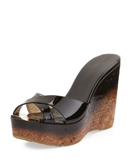 Jimmy Choo Perfume Crisscross Degrade Wedge Sandal, Black