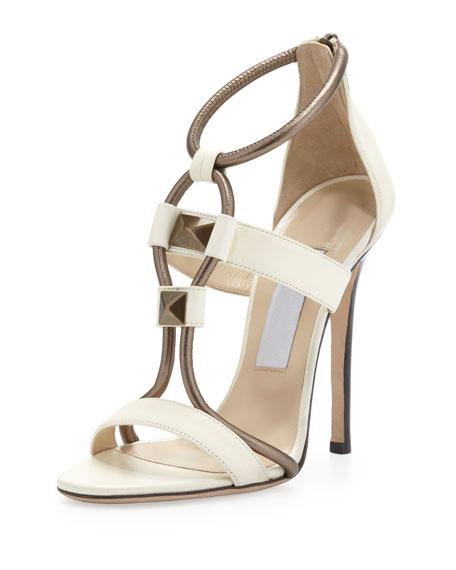 Vapour Stud-Front T-Strap Sandal, White/Pewter
