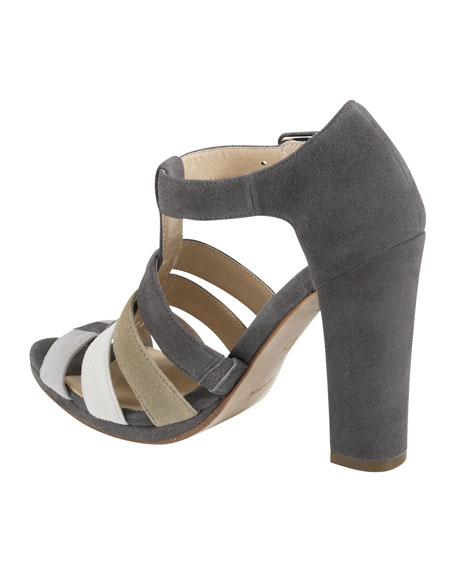 Chelsea Suede T-Strap Sandal, Gray