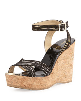 Jimmy Choo Papyrus Splattered Cork Wedge