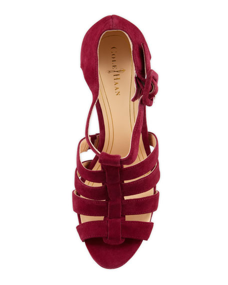 Chelsea Suede T-Strap Sandal, Winery