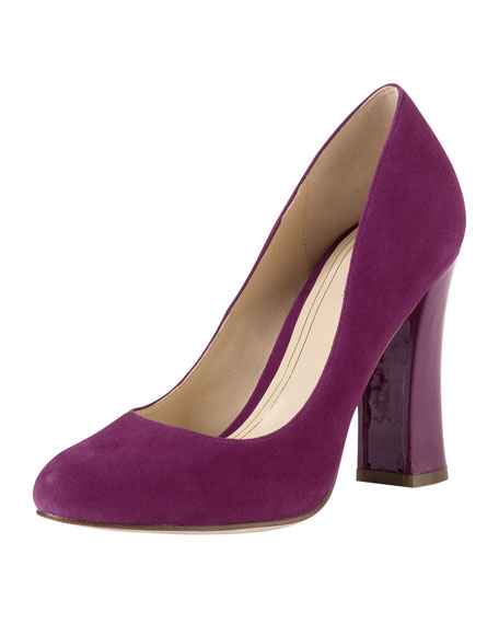 Chelsea Suede High Flared-Heel Pump, Winery