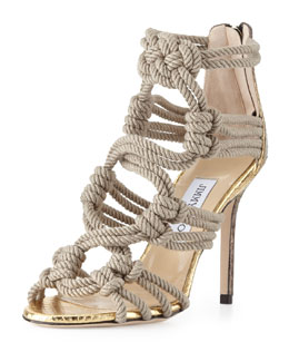 Jimmy Choo Kanoder Snake & Rope Sandal, Black/Gold/Natural