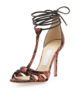 Jimmy Choo Motive Snake Ankle-Wrap Sandal, Flame