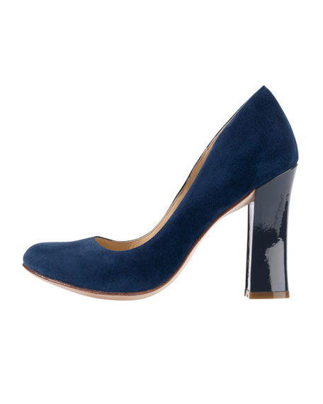 Chelsea Suede Flared-High-Heel Pump, Blazer Blue