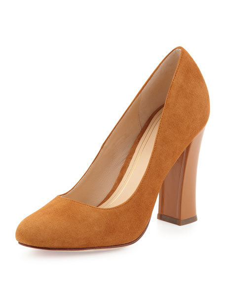 Chelsea Suede High Flared-Heel Pump, Camello