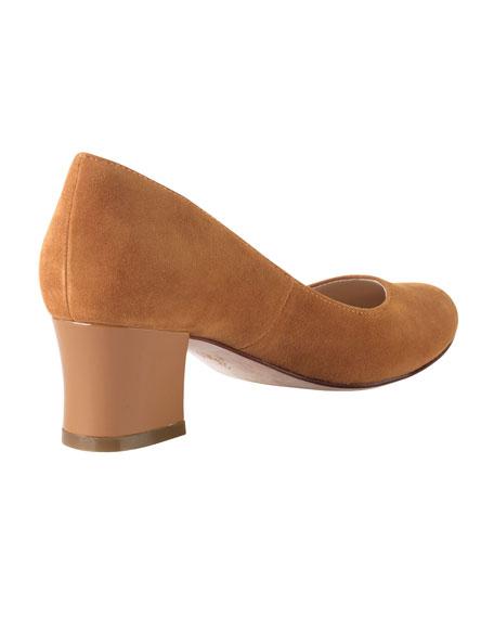 Chelsea Suede Low-Heel Pump, Camello