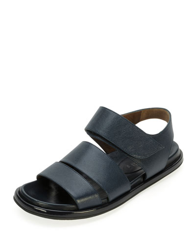 Saffiano Double-Band Sandal, Night Blue