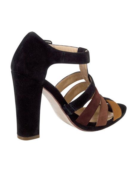 Chelsea Suede T-Strap Sandal, Black