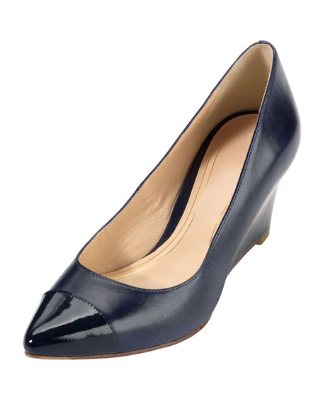 Chelsea Matte-Patent Pointy Toe Wedge, Blazer Blue