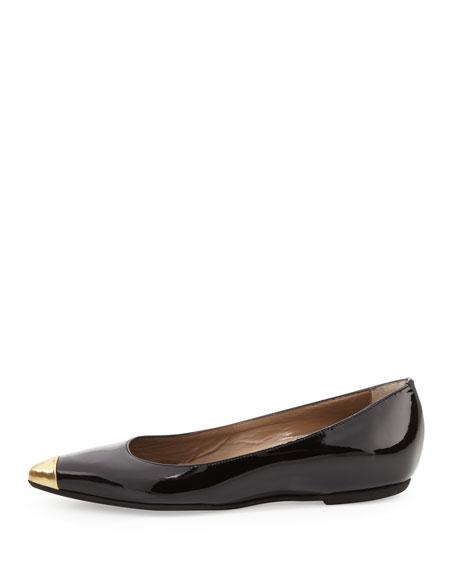 Delphine Patent Cap-Toe Flat, Black