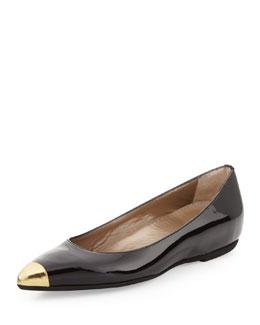 Anyi Lu Delphine Patent Cap-Toe Flat, Black