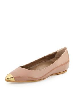 Anyi Lu Delphine Patent Cap-Toe Flat, Bisque