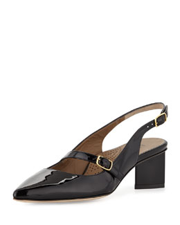 Anyi Lu Gigi Patent Mary Jane Slingback Pump, Black
