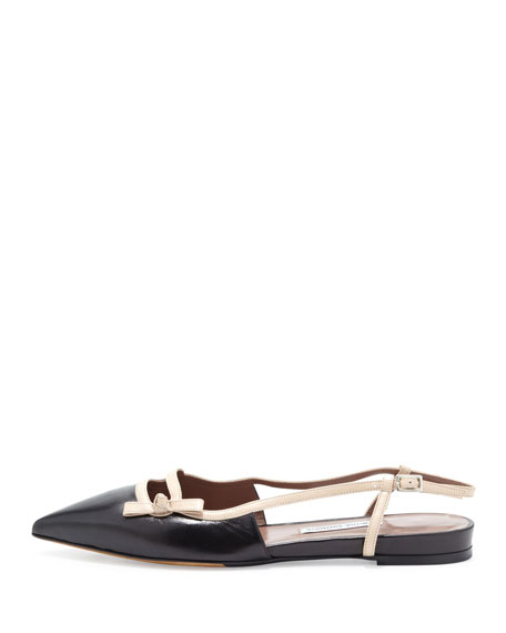 Dilly Flat Slingback Ballerina Flat, Black/Nude