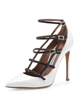 Tabitha Simmons Josephina Buckled Cage Pump, White/Black