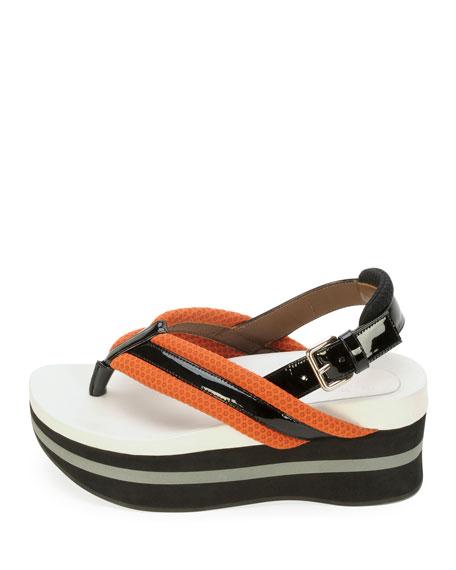 Platform Slingback Thong Sandal, Tan/Coal