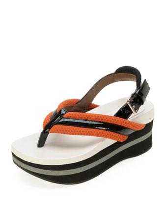 Marni Platform Slingback Thong Sandal, Tan/Coal