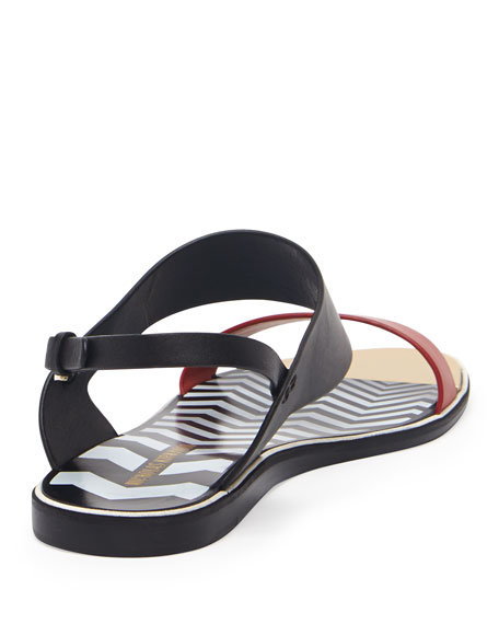 Two-Tone Flat Leather Sandal, Black/Red