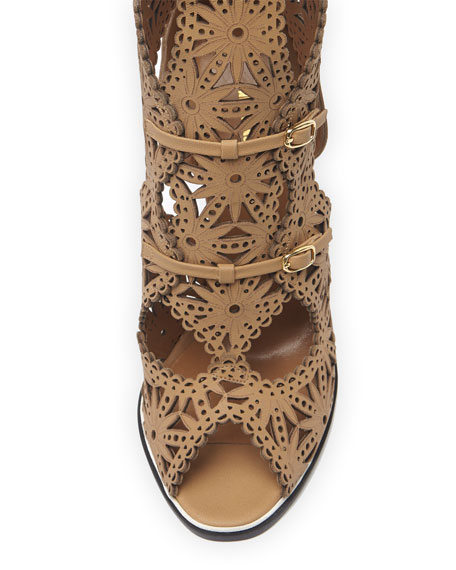 Knee-High Lace Cage Sandal, Beige